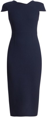 Roland Mouret Ayers Wool V-Back Sheath Dress
