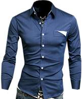 Partiss Mens Casual Long-sleeved Button-down Designer Dress Shirt