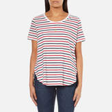 Maison Scotch Women's Basic Short Sleeve TShirt With Longer Back - Multi