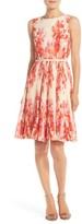 Adrianna Papell Women's Floral Print Pleat Fit & Flare Dress
