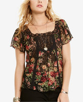 Denim & Supply Ralph Lauren Floral-Print Lace-Accent Boho Shirt