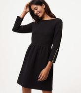 LOFT Petite Zip Cuff Flare Dress