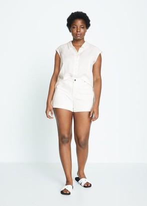 MANGO Violeta BY Denim shorts white - 12 - Plus sizes