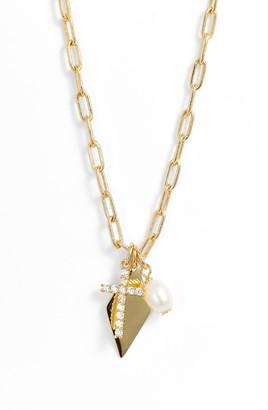 Argentovivo Cubic Zirconia & Cultured Pearl Multi Charm Pendant Necklace