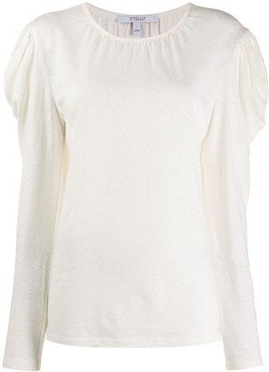 Derek Lam 10 Crosby Amara Long Sleeve Linen Cotton Puff Shoulder Jersey Tee