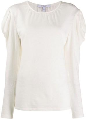 Derek Lam 10 Crosby Amara Long Sleeve Linen Cotton Puff Shoulder Jersey Tee