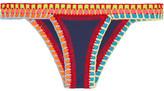 Kiini Tasmin Crochet-trimmed Bikini Briefs - Navy