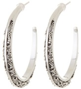 Lois Hill Sterling Silver Puffed Oval Granulated Hoop Earrings