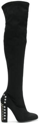 Fabi embellished heel thigh boots