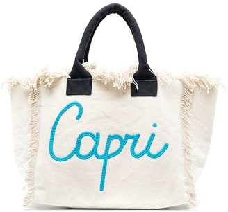 MC2 Saint Barth Capri logo print beach bag