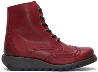 Fly London Marl II Red Leather Low Wedge Lace Up Ankle Boots