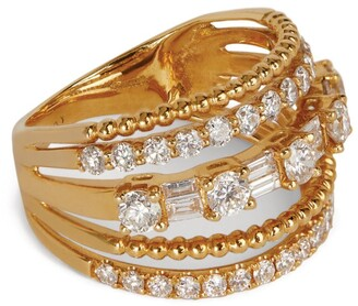 Shay Yellow Gold Diamond Deco 5-Row Ring