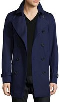 Burberry Slim-Fit Double-Breasted Trench Coat, Blueberry