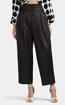 Marc Jacobs Women's Pleated Leather High-Rise Pants - Black