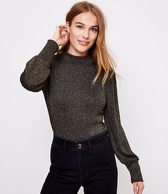 LOFT Shimmer Ribbed Mock Neck Top