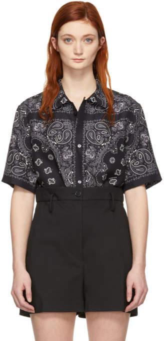 Alexander Wang Black and Grey Silk Bandana Shirt