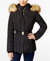 Jones New York Faux-Fur-Trim Belted Down Coat