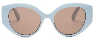 Gucci GG-logo Quilted Cat-eye Acetate Sunglasses - Blue