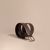 Burberry London Leather Belt With Check Detail