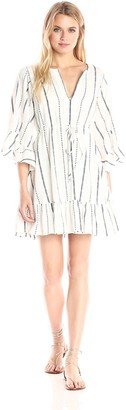 BCBGMAXAZRIA Azria Women's Emileigh Angel Sleeve Striped Woven Casual Dress