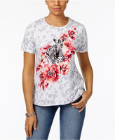 Alfred Dunner Zebra Floral Graphic Top