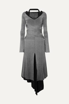 Proenza Schouler Metallic Ribbed-knit Midi Dress - Silver