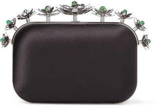 Jimmy Choo CLOUD Black Satin Clutch Bag with Floral Crown