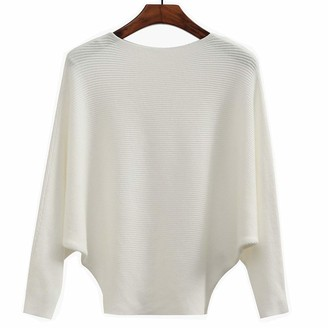 Yekeyi Women's Sweater Off Shoulder Batwing Sleeve Loose Pullover Solid Sweater Knit Jumper Tops White