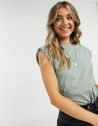 ASOS DESIGN sleeveless t-shirt with shoulder pad in khaki
