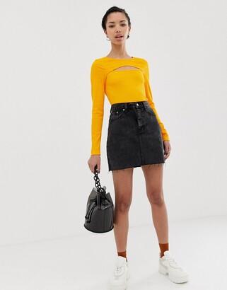 Dr. Denim raw hem mini skirt-Black