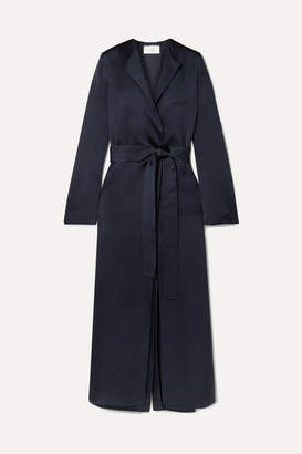 The Row Madie Belted Silk-satin Coat - Navy
