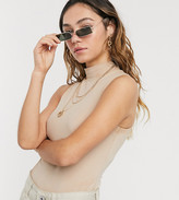 BEIGE Collusion COLLUSION high neck sleeveless body in