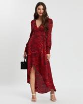 Missguided Zebra High Low Wrap Midi LS Dress