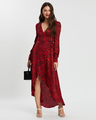 Missguided Zebra High Low Wrap Midi LS Dress