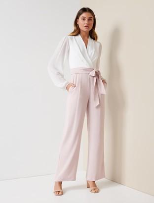 Forever New Agatha Wrap Sheer Sleeve Jumpsuit - Porcelain/Blush - 10
