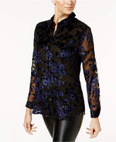 Charter Club Petite Flocked Button-Down Blouse, Created for Macy's