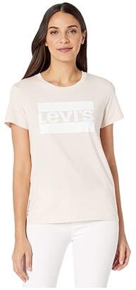 Levi's Womens Womens The Perfect Tee (Core Housemark Black) Women's Clothing