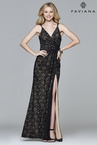Faviana 7995 Long v-neck with lace detail