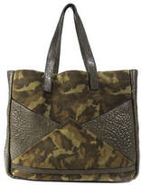 Facine Green Camouflage Leather Large Tote Shopper Handbag