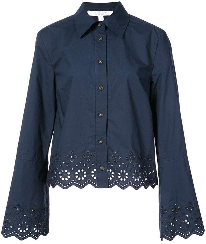 Derek Lam 10 Crosby Long Sleeve Button-Down Shirt With Eyelet Embroidery