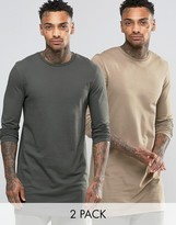 Asos Super Longline Long Sleeve T-shirt 2 Pack
