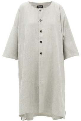 eskandar Round-neck Slubbed Linen-blend Coat - Light Grey