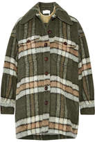 Chloé Oversized Plaid Mohair-blend Jacket - Army green