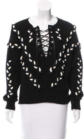 Yigal Azrouel Lace-Up Cable Sweater