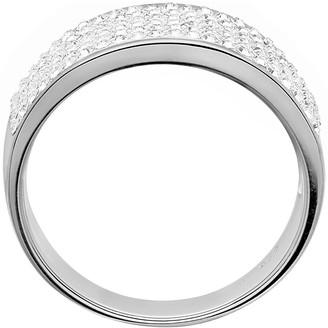 Evoke Sterling Silver Rhodium Plated Clear Swarovski Crystals 8mm Band Ring