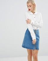 Love Moschino Heart Button Shirt in White