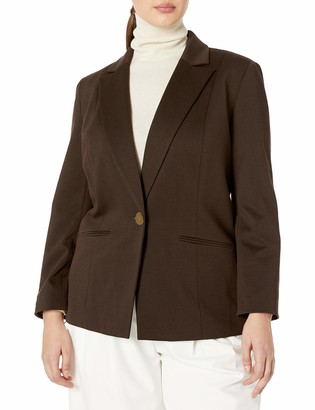Kasper Women's Plus Size 1 Button Notch Collar Ponte Jacket