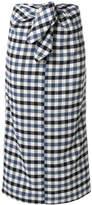 Tibi gingham tie front skirt