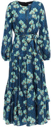 Borgo de Nor Augustina Belted Printed Silk-twill Maxi Dress