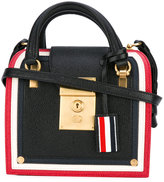 Thom Browne striped detail mini tote - women - Leather - One Size